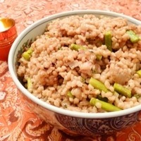 Baked Farro or Pearl Barley with Asparagus Recipe