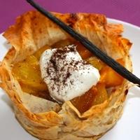 Warm mango, banana and pineapple crisp with mascarpone cream Recipe