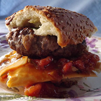 Hamburgers with Fresh Tomato and Onion Relish Recipe