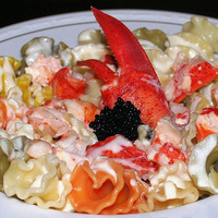 Coral Pasta with Lobster in Creamy Herbed Lemon Sauce Recipe
