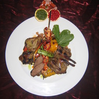 mixed grilled meats with oriental rice &vegetables Recipe