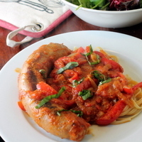 Braised Chicken Sausage with Red Bell and Peppadew Peppers Recipe