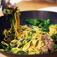 Beef, mushrooms & greens stir fry Recipe