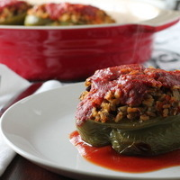Lentil and Rice Stuffed Peppers with Sweet and Spicy Tomato Sauce Recipe