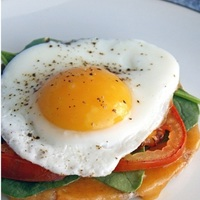 Open Faced Egg and Tomato Breakfast Sandwich Recipe