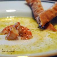 Zuppa di Parmigiano con mazzancolle e grissini di pasta fillo Recipe