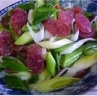 Stir-Fry Chinese Leeks with Chinese Sausages Recipe