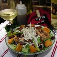 Grilled Salmon & Butter Lettuce Salad with Pomegrante Molasses Dressing Recipe