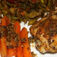 Sticky Citrus Thyme and Mustard Baked Chicken and Carrots! Recipe