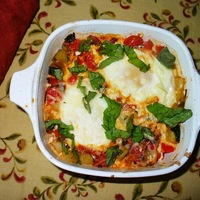 Baked Eggs With Tomato, Courgette & Capsicum. Recipe