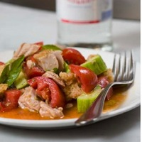 Tuna Conserva with Tomatoes, Cucumbers, Capers and Bread Recipe