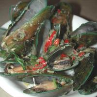 Mussels steamed with Coconut Milk, Ginger, Lemongrass and Coriander. Recipe