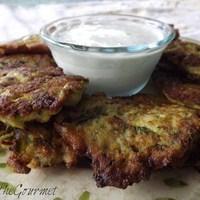 Zucchini Fritter Appetizer with Sour Cream Dip Recipe