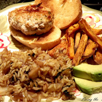Pork Burgers with Gingered Rice and Sweet Potato Fries Recipe