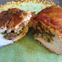 Bacon Wrapped, Marinated and Stuffed Chicken Recipe