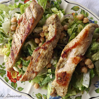 Grilled Chicken with Green Tomato and Basil Salad Recipe