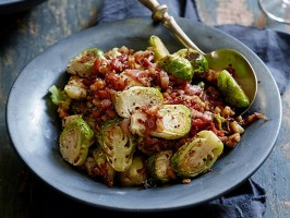 Roasted Brussels Sprouts with a Bacon, Mustard and Walnut Vinaigrette