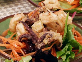 Crispy Salt and Pepper Squid with Spicy Asian Salad