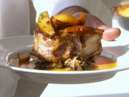 Cider Glazed Pork Chops with Apple Thyme Chutney and Collard Greens