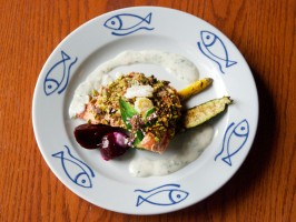 Pistachio-Crusted Chinook Salmon with Ginger-Cardamom Yogurt Sauce, Glazed Beets and Grilled Summer Squash