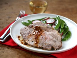 Weeknight Roast Pork Loin with Snap Pea and Radish Salad