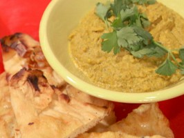 Lentil and Split Pea Dip with Roasted Garlic Naan