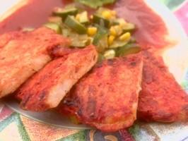 Red Chile Pork Cutlets, Cervantes Style: Chuletas de Serdo en Chile Rojo, Estillo Cervantes