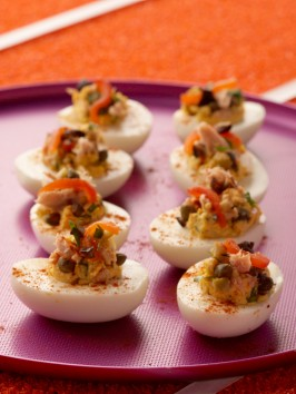 Kicked Up Pimento and Tuna Deviled Eggs