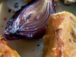Roasted Pumpkin and Red Onion with Honey Dressing