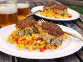Bacon Crab Cakes with Pimiento-Corn Relish