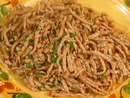 Wheat Noodles with Anchovy Sauce: Bigoli en Salsa