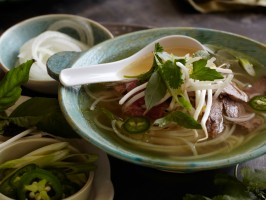 "Vietnamese ""Pho"" Rice Noodle Soup with Beef"
