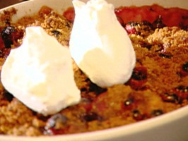 Pear Cobbler with Cranberry Streusel