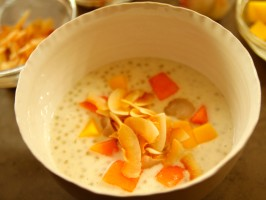 Coconut Tapioca Pudding with Lychee, Mango and Papaya