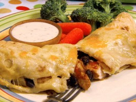 Chicken and Black Bean Enchiladas with Gooey Jack Cheese
