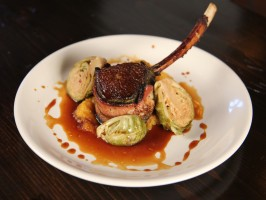 Bacon Wrapped Elk Chops with Pickled Brussels Sprouts and Pumpkin Puree