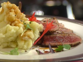 Pepper-Crusted Tuna Steak with Teriyaki Sauce and Wasabi Smashed Potatoes