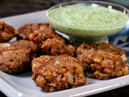 Refried Bean Pakoras with Cilantro and Coconut Chutney