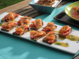 Smoked Salmon on Grilled Seven Grain Bread with Tomato and Dill
