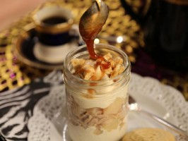 Layered Chestnut Cream and Pear Verrine
