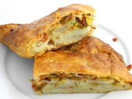 Potato, Caramelized Leek, and Bacon-Stuffed Puff Pastry