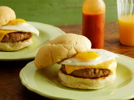 Homemade Breakfast Sandwiches with Homemade Maple Sausage, Egg and Cheese