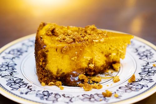 PW's Caramel Pumpkin Pecan Gingersnap Cheesecake