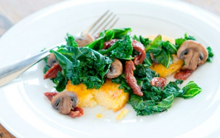 Kale, Mushroom and Tomato Saute with Polenta