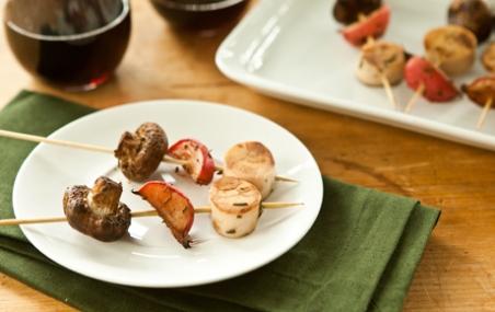 Mushroom, Radish and Hearts of Palm Skewers