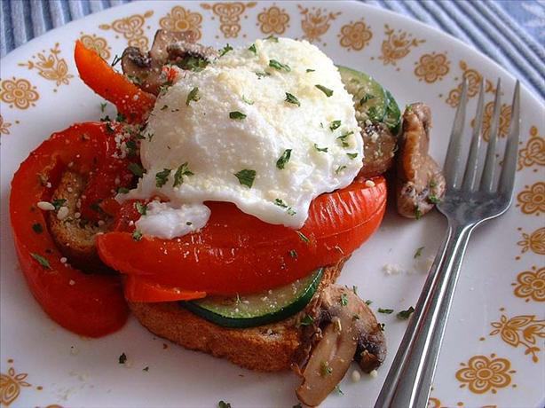 Poached Eggs on Roasted Veggies