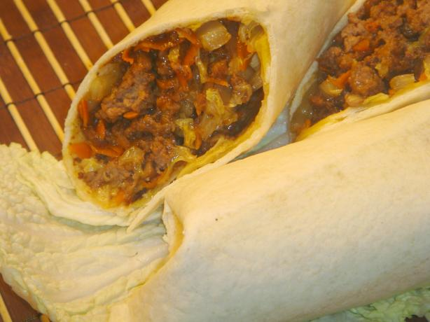 Quick Beefy Chinese Burritos