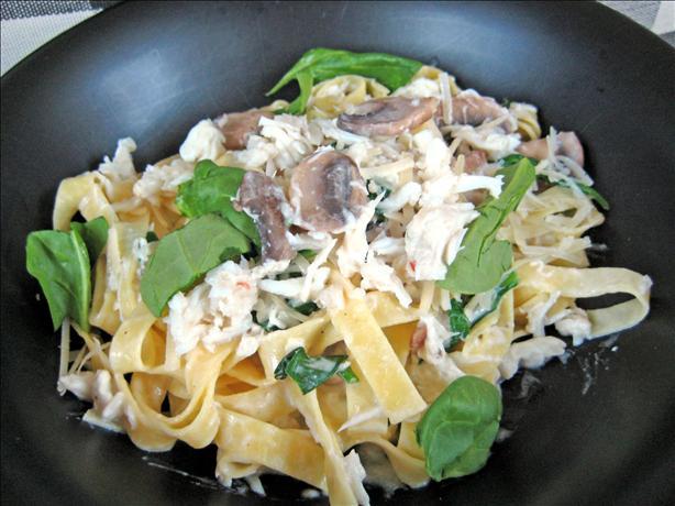 Crab Mushroom Spinach Fettuccine