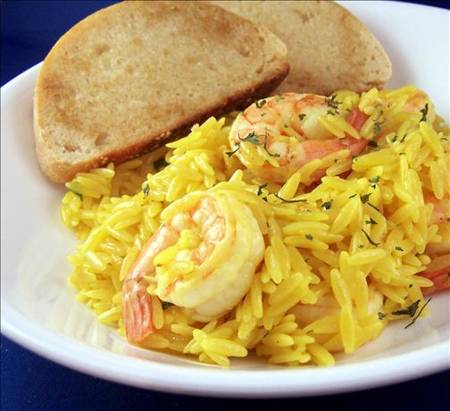 Shrimp With Saffron Orzo