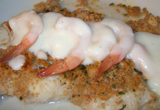 Stuffed Pollock With Shrimp Sauce